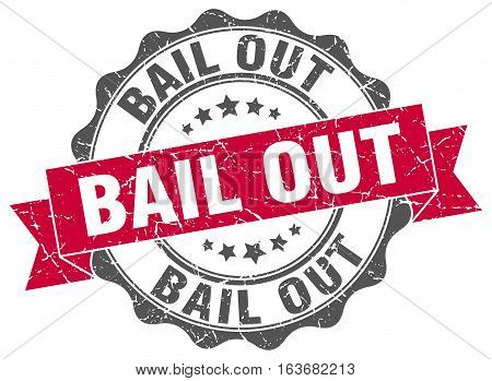 bail out. stamp. sign. seal. round. retro. ribbon
