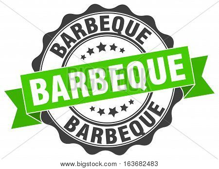 barbeque. stamp. sign. seal. round. retro. ribbon