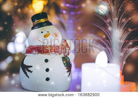 Snowman And Candle Electric Decor For Christmas