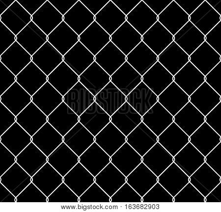 Wired steel fence seamless texture overlay. Metallic wire mesh isolated on black background. Stylized vector pattern.