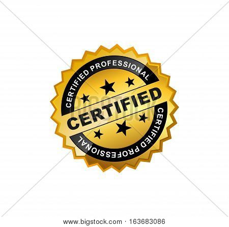 Gold Certified Sticker or Emblem icon symbol