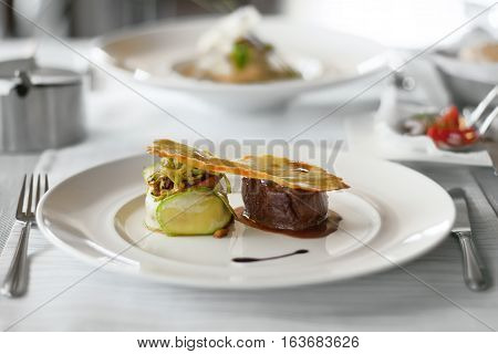 Food in restaurant on the table appetizing