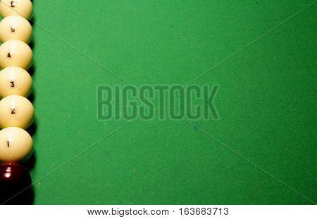 The Game Of Billiards. Russian Billiards. Billiard Balls On Green.