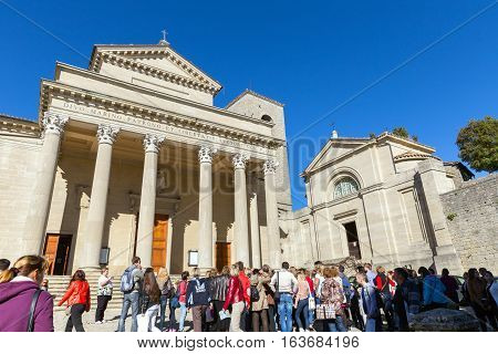 San Marino. San Marino Republic - November 06 2015: Basilica San Marino