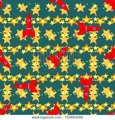Seamless vector pattern with space elements, rockets and stars