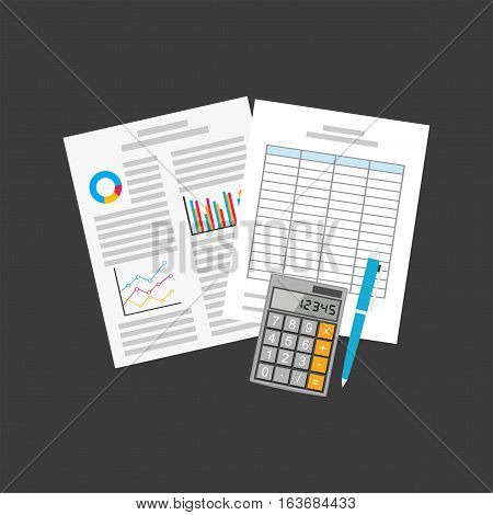 Business documents. Spreadsheets or report papers. Accounting concept.