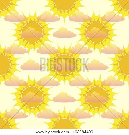 Seamless pattern with sun and clouds, vector illustration