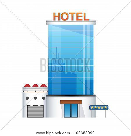 five-star hotel building 3d icon. glass skyscraper icon