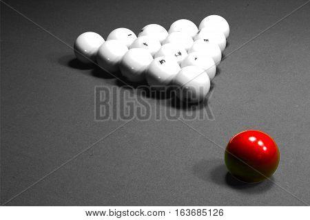 The Game Of Billiards. Russian Billiards. Billiard Balls On Green