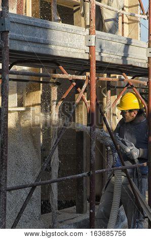 Cascina Italy - November 06 2015: Construction of wall of a passive house