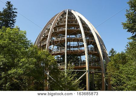 Bavarian Forest, Germany 28. July 2014: View of Treetop Walk attraction, Bavarian Forest, Germany