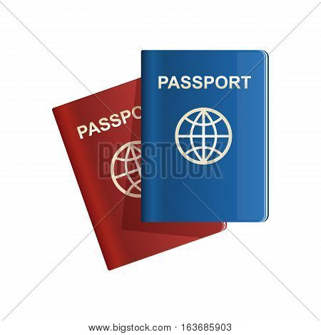 Red and blue leather Passport icon set Vector illustration