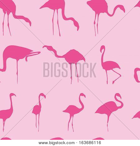 Silhouette of pink flamingos seamless pattern background