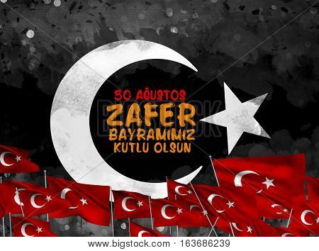 30 Agustos Zafer Bayrami. Greeting card Turkey National Day Victory 30 August.