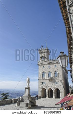The Public Palace and the landscape of San Marino