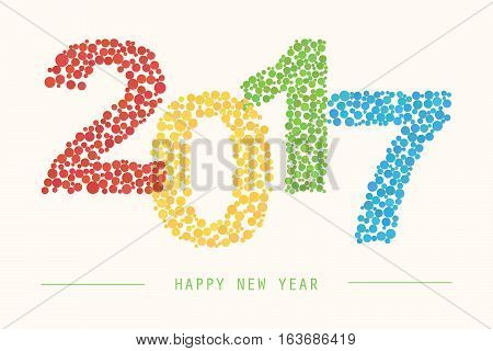 Happy New Year 2017 colorful greeting card for web and print.