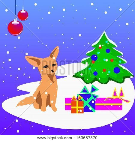 Christmas card with a tree, presents, christams balls and a fox cub