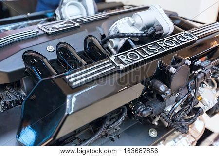 Munich, Germany - December 28, 2016: Engine of the Rolls-Royce close up in BMW World exhibition