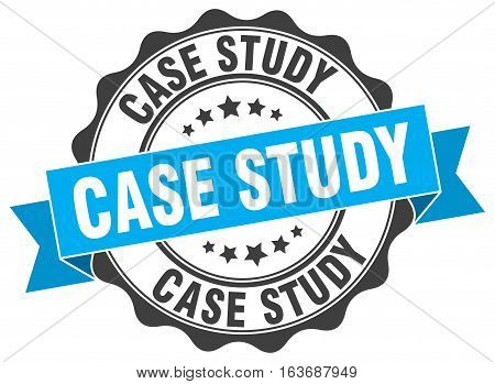 case study. stamp. sign. seal. round. retro. ribbon