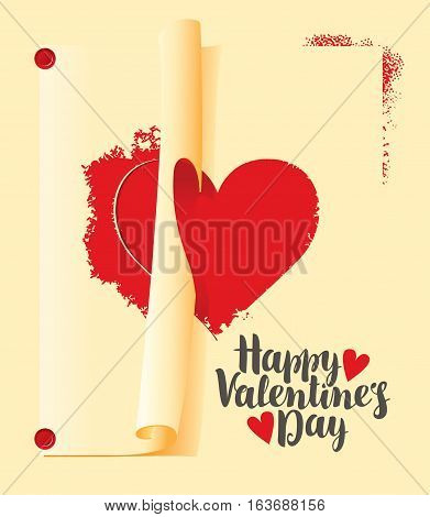 vector greeting card with inscription happy valentines day and stencil with a heart sign
