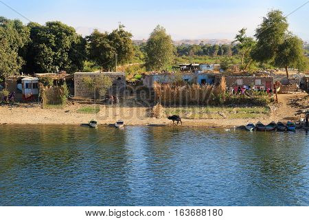 Poor Village along the shore of the Nile River in Egypt Africa