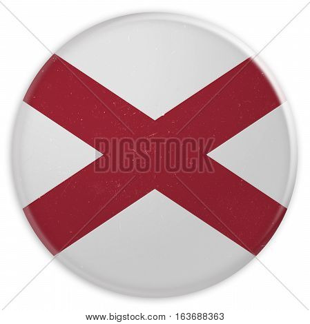Vintage US State Button: Dirty Desaturated Alabama Flag Badge 3d illustration on white background