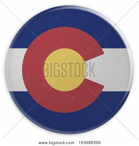 Vintage US State Button: Dirty Desaturated Colorado Flag Badge 3d illustration on white background