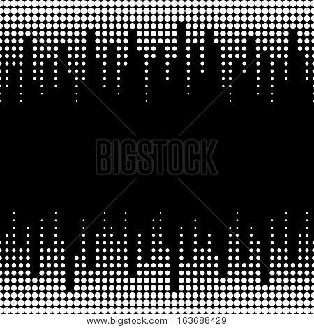 Vector monochrome seamless pattern with black & white dots. Illustration of sound waves. Dynamic visual effect, modern simple background. Geometric texture for prints, digital, cover, decoration, textile, identity, web