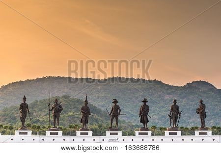 Rajabhakti Park on mountain background at Huahin Prachuapkhirikhan Province Thailand