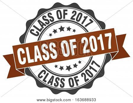 class of 2017. stamp. sign. seal. round. retro. ribbon