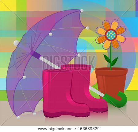 Colorful illustration of rain boots, umbrella and potted flower on an abstract background. Eps10