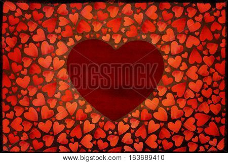 Romantic red heart background. Many flying hearts on red background. For wedding card, valentine's day greetings, lovely frame