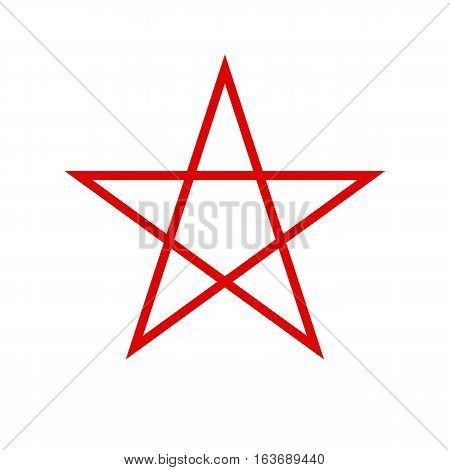 Pentagram icon. Red five-pointed star. Vector illustration.