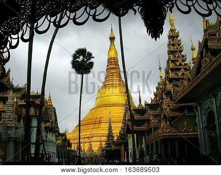 Shwedagon Pagoda. Shwedagon Zedi Daw, and also known as the Great Dagon Pagoda and the Golden Pagoda, is a gilded stupa located in Yangon, Myanmar.