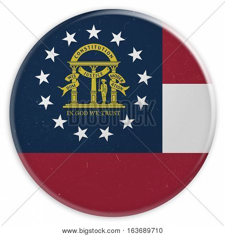 Vintage US State Button: Dirty Desaturated Georgia Flag Badge 3d illustration on white background