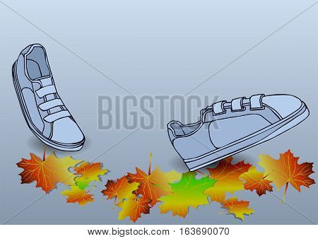 boots traveling ion autumn leves solated on the white background