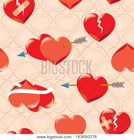 red hearts on Valentine s Day with arrows and ribbons