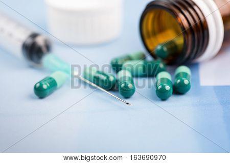 Syringe and Pills high quality and high resolution studio shoot