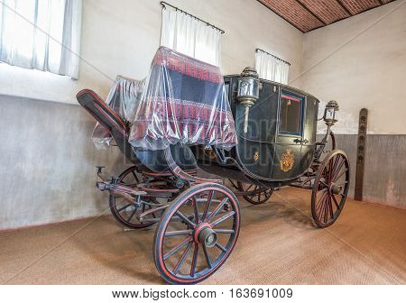 Chaumont, France - June 2016: Russian tzar coach in the stables Chaumont castle