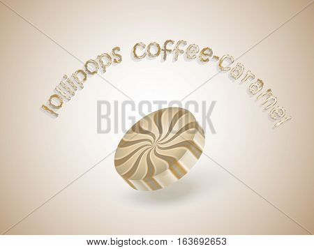 Abstract background with round caramel lollipops, vector illustration