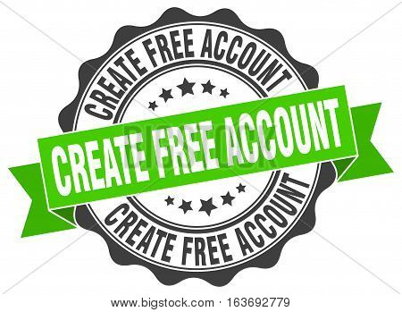 create free account. stamp. sign. seal. round. retro. ribbon