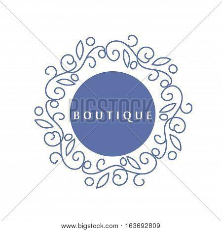 Simple and graceful floral monogram design template, Elegant lineart logo design, vector illustration