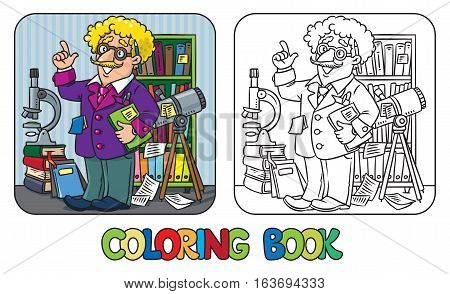 Coloring book of funny scientist or inventor. A man in glasses and suit with books, folders, microscope and telescope raised index finger. Profession series. Childrens vector illustration.