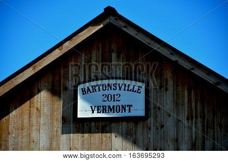 Bartonsville Vermont - September 19 2014 : 2012 Bartonsville Covered Bridge a 151 foot long span over the Williams River is a replica of the original 1870 bridge destroyed during Hurricane Irene