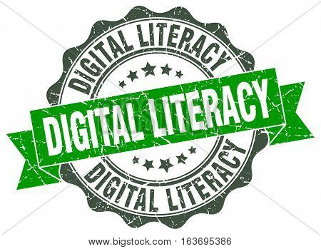 digital literacy. stamp. sign. seal. round. retro. ribbon