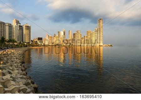 View of the financial district of Panama City Panama.