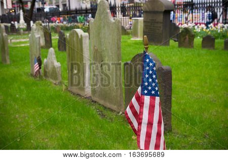 american flag at the trinity church cemetery