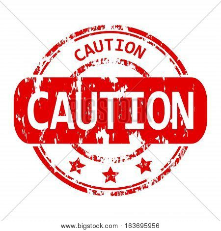Rubber stamp with the word caution isolated from the background, vector illustration.