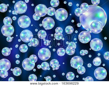 Abstract background with colored scattered bubbles, vector illustration