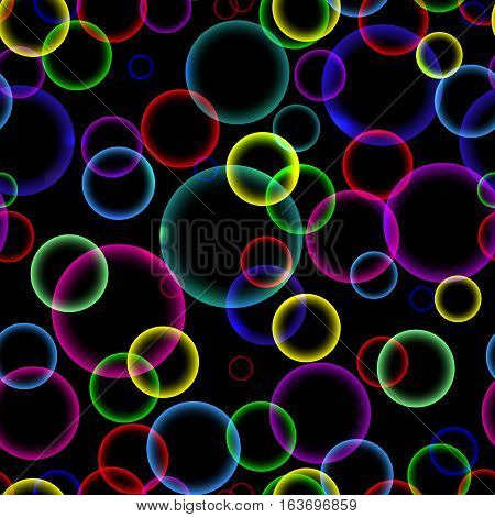 Seamless pattern with colorful abstract soap bubbles on black background, vector illustration